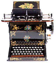 1874, una máquina de escribir  Remington.