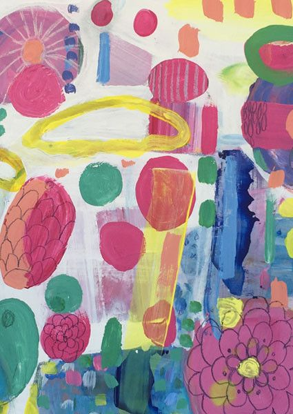 Original Painting Flower Fields by Saffron Craig Fabrics | Saffron Craig Organic Fabrics