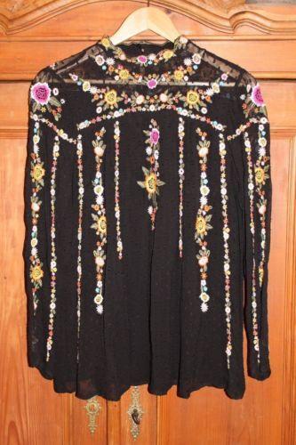 Zara-bestickte-Spitzenbluse-schwarz-Gr-M-Boheme-Trend-Trachtenlook
