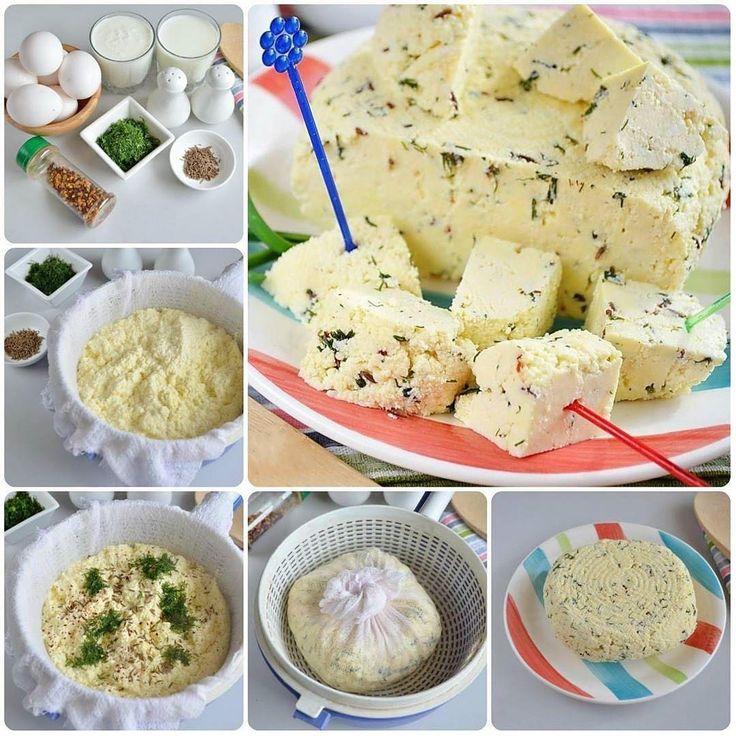 «Домашний сыр с зеленью Сохрани рецепт 📌 Ингредиенты: Молоко — 1 л Кефир или простокваша — 1 л…»