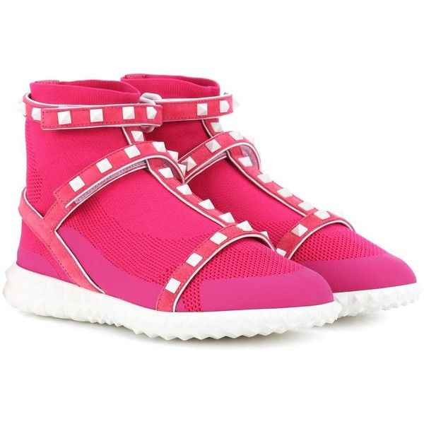 Valentino Valentino Garavani Free Rockstud High-Top Sneakers ($1,060) ❤ liked on Polyvore featuring shoes, sneakers, pink, pink sneakers, hi tops, pink high top sneakers, high top trainers and high-top sneakers