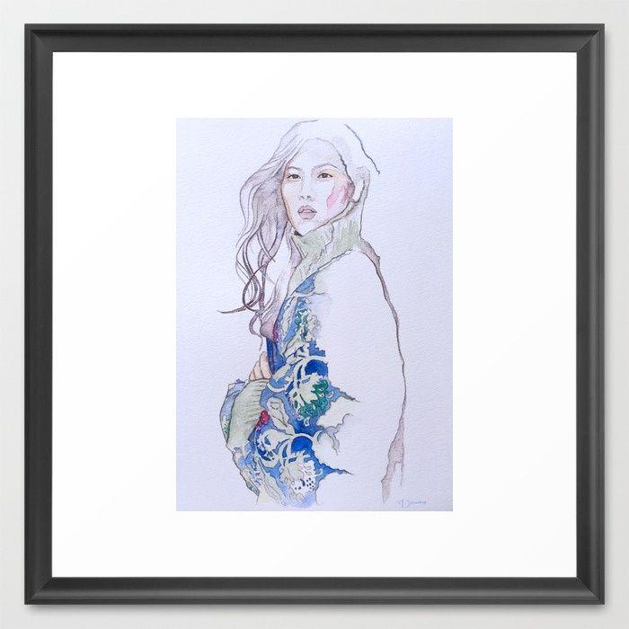 Fashion Illustration - Liu Wen Framed Art Print