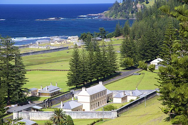 Overview of Kingston - the officers' quarters and garrison in the foreground, the penal colony in the background.