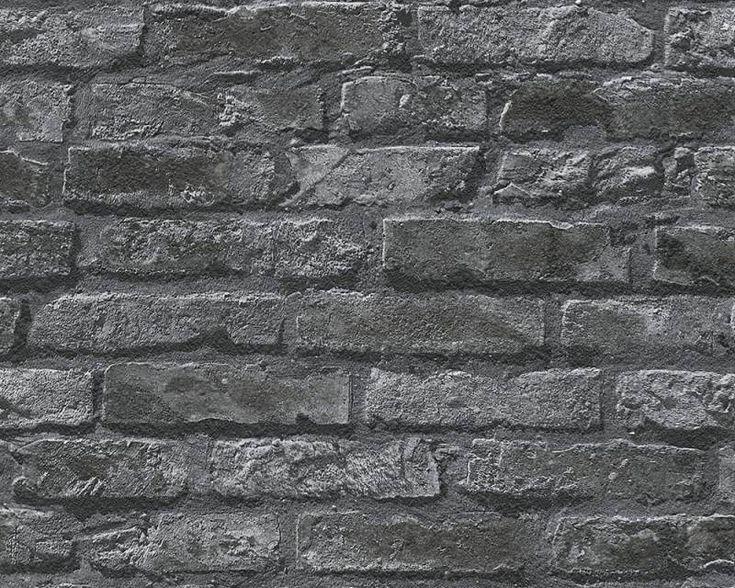 Dekora Natur baksteen zwart 95470-1 - Steen behang - baksteen behang - steen aan de muur - landelijk behang - industrieel behang - De Behangwinkelier