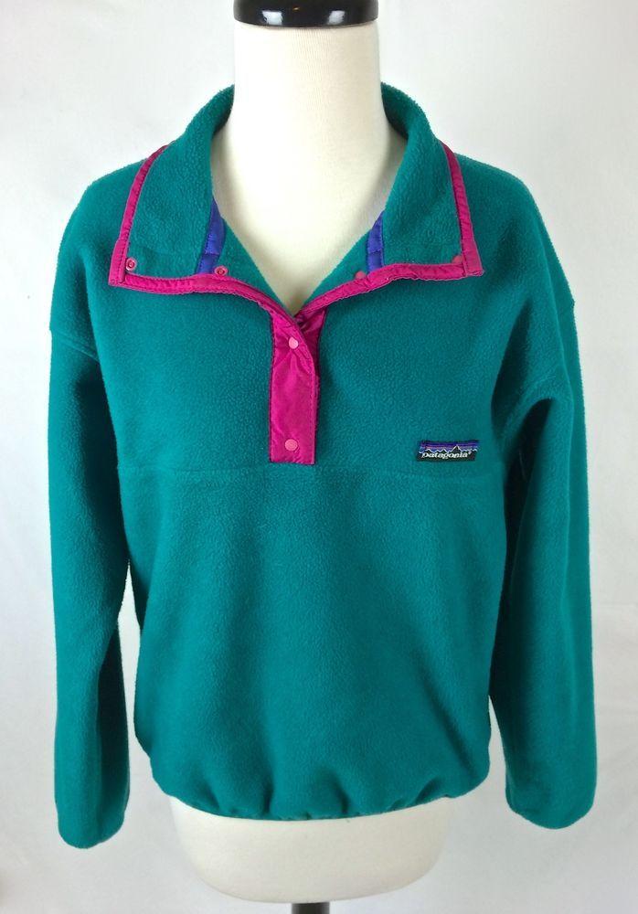 VTG Patagonia Pile Fleece Sweater Blue Long Sleeve Womens 10 L #Patagonia #Collared