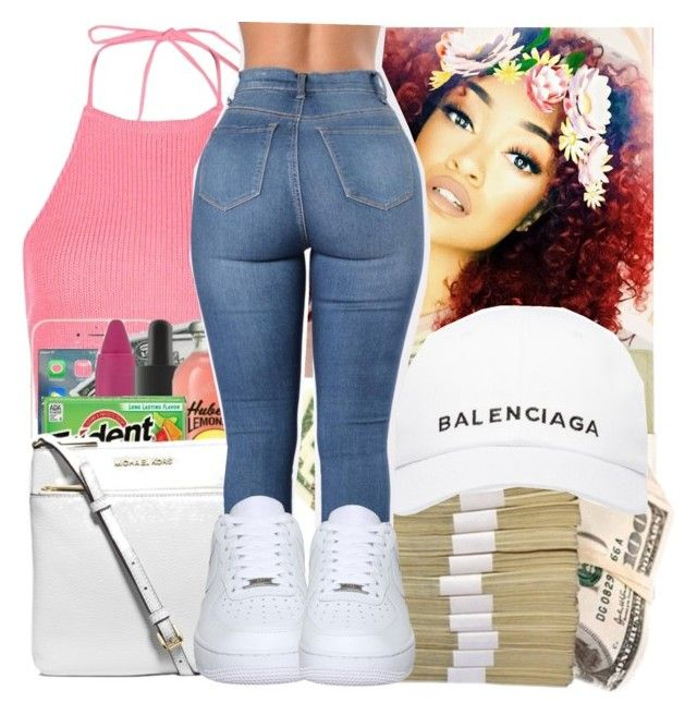 """"" by daradior ❤ liked on Polyvore featuring Boohoo, Balenciaga and NIKE"
