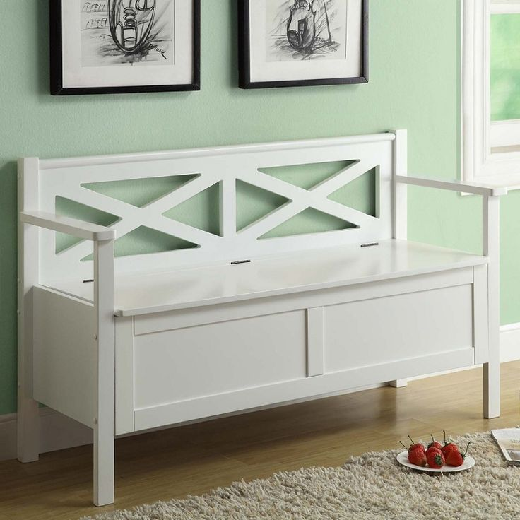 Jared White Solid Wood Storage Bench | Entryway Furniture