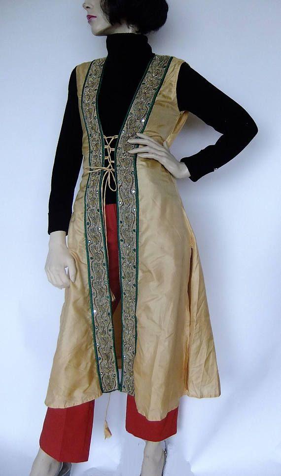 Gold Ethnic Dress Vest Boho Embroidered Long vest Hippie