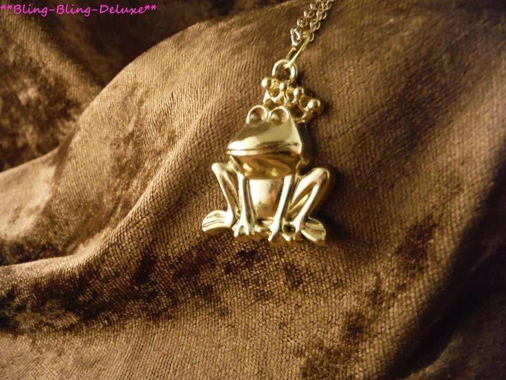 Froschkönig Halskette 24 Karat Vergoldet Frog King Tier Teich Frosch