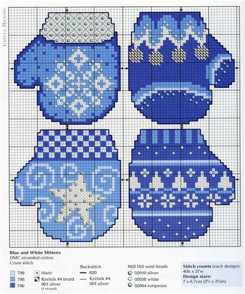 варежки на елку к новому году, новогодний декор, елочные игрушки своими руками с вышивкой крестом, простые схемы для вышивки крестом скачать, выкройка рукавички