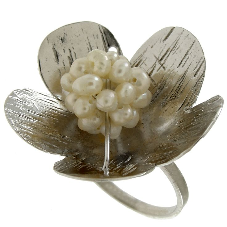 Emmanuela.gr - Handmade Jewelry - Rings :: Sterling Silver Flower Ring with Pearls