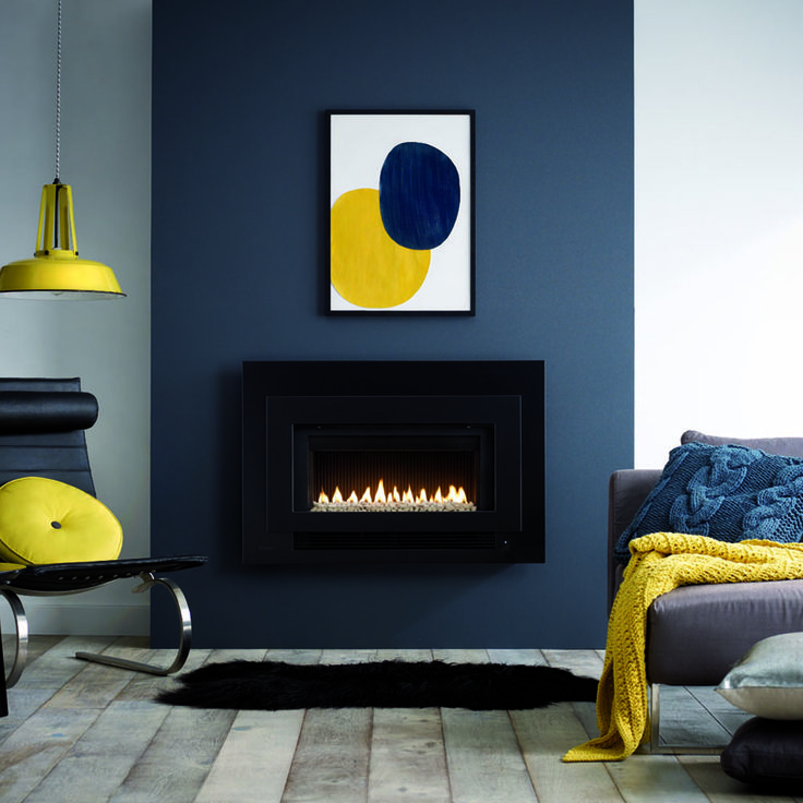 Add a bit of colour to life! The Rinnai Arriva 752 Range, Gas Log Fireplace. Lounge design inspiration. Colourful home designs.