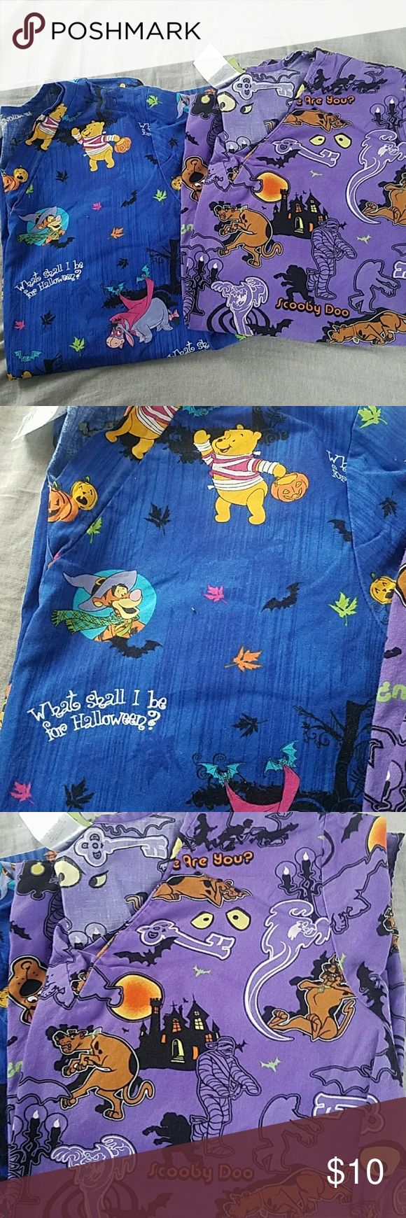 Cartoon Halloween scrubs Pooh Bear and Scooby Foo Halloween scrubs. 2 front pockets. Smoke free home. Other