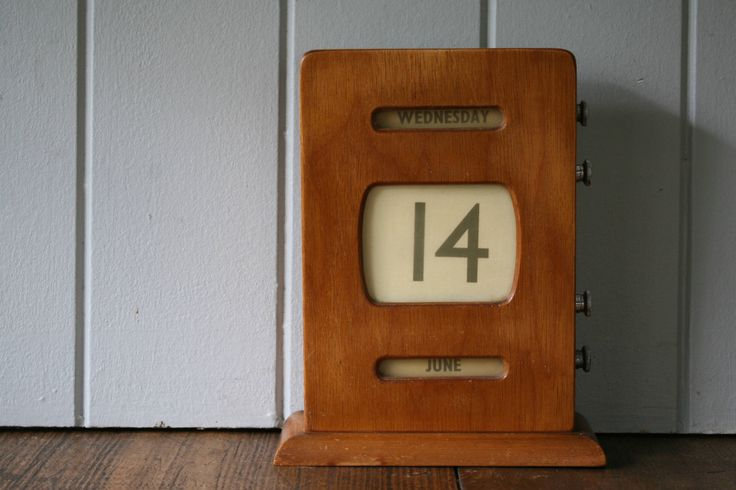 Wood Perpetual Desk Calendar Mid-Century Retro Piece for the Office or Study Wooden Bank Post Office Calendar by FoundByHer on Etsy