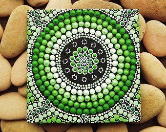 Forest Art, small Original Aboriginal Art Dot Painting, acrylic paint on canvas board, green decor, Forest, 10cm x 10cm