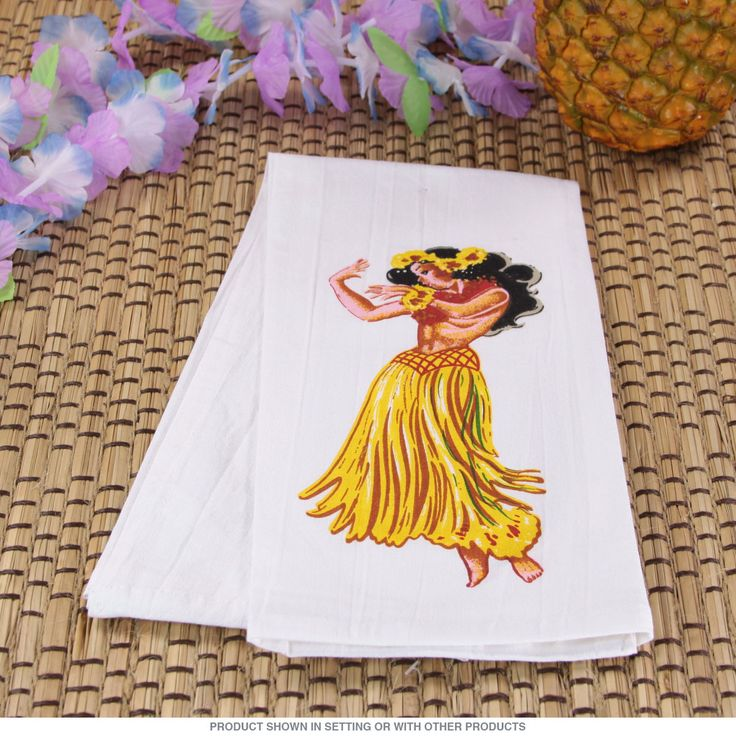 Retro Kitchen Linens: Hawaiian Hula Girl Flour Sack Dish Towel