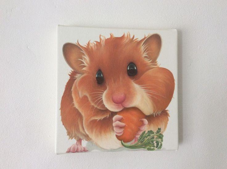 siberian golden hamster painting fine art giclee print picture | eBay