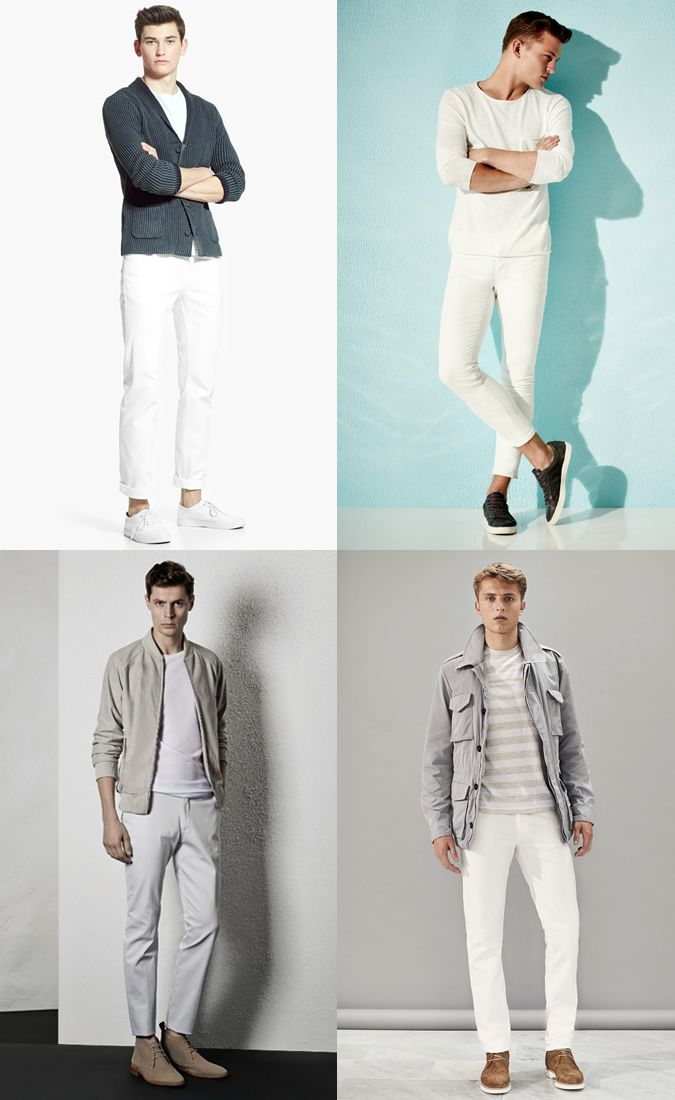 Menswear Looks That Are Always In-Style: Men's White Jeans and White T-Shirts Outfit Inspiration Lookbook