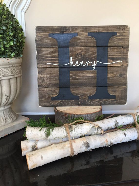 Child name pallet sign Baby name wood sign childs by HelloSugarPie