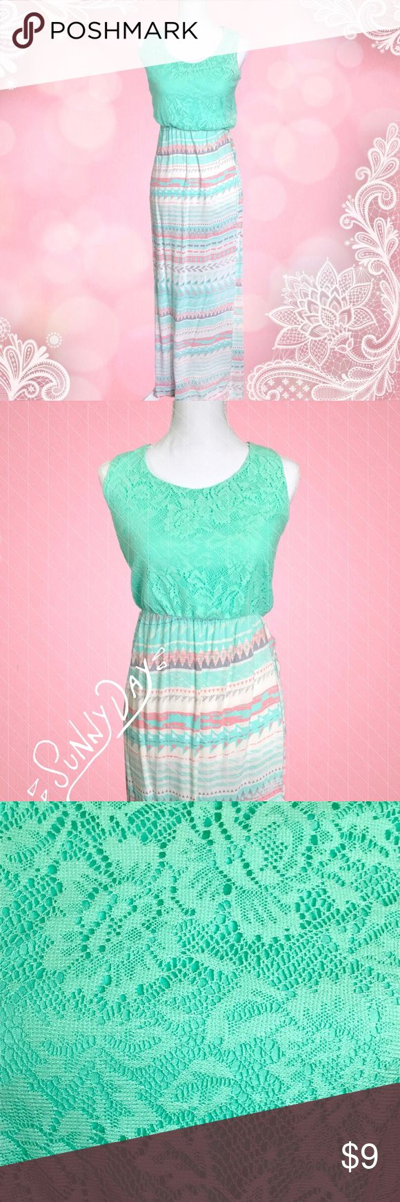 """✨ NEW✨ Stylish Aztec Maxi Dress 👗 💕 ~  Beautifully colored Aztec Maxi dress ~  Teal, pink, white, & light gray skirt ~  Thin comfortable skirt, semi-sheer in direct sunlight ~  Pattern maybe slightly offset, easy fix if you can sew. Price reflects this ~  Size:Small ~  Measurements: From bottom of bust to end of dress approx. Is 41"""" From top shoulder seam is approx. 56""""  💕 Make me an Offer! 💕 🌟 Poshmark Fast Shipper, Top-Rated Seller & Top 10% Sharer 🌟 🚚  I ship within 2-3 business…"""