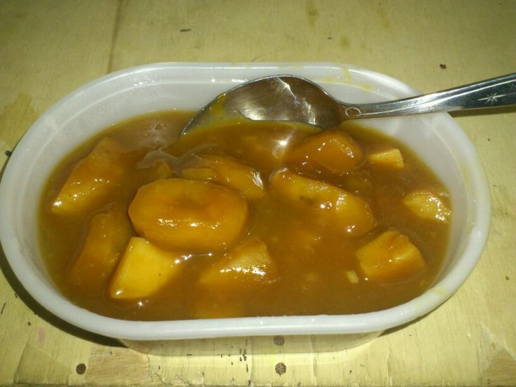 Kolak pisang. Made of banana and cassava stewed in coconut milk and brown sugar