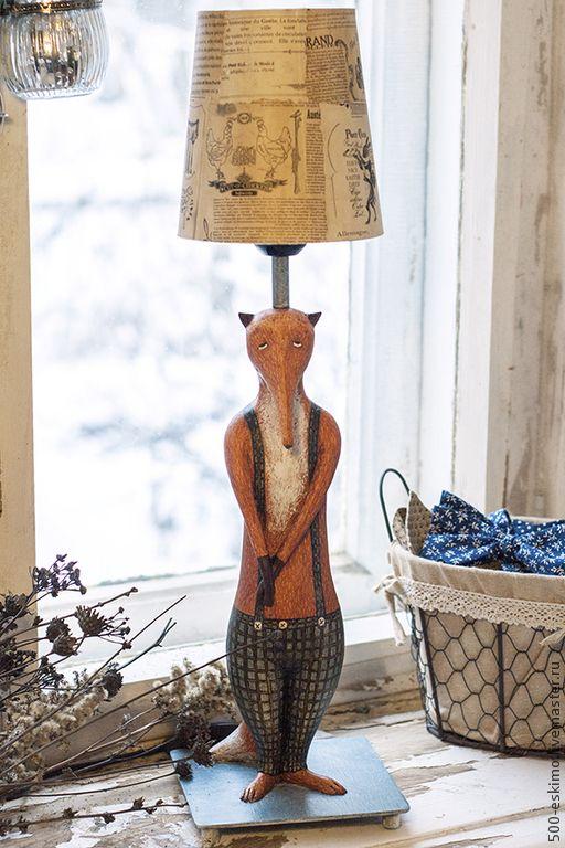 Купить Лампа Лис - рыжий, лис, настольная лампа, светильник, ночник, папье-маше, масло