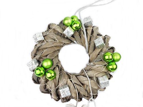 Stroik Świąteczny Zielony z lampkami