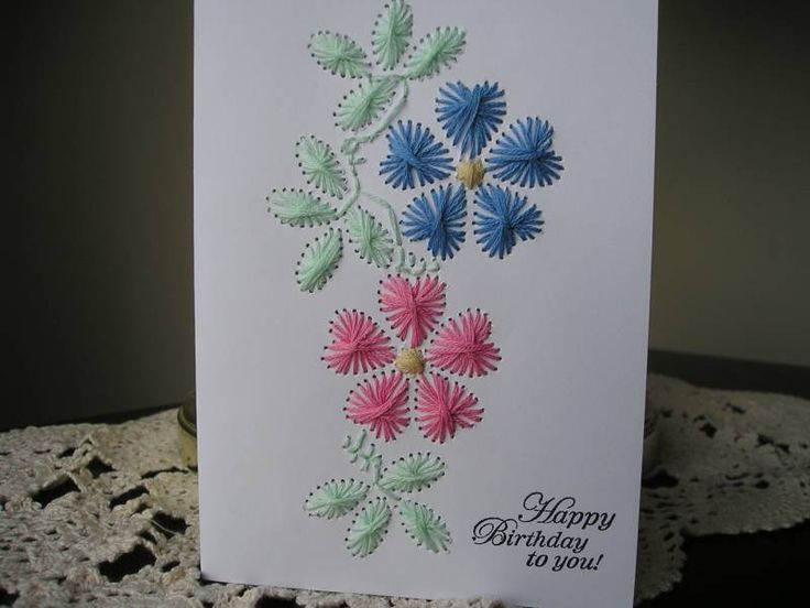 23 Best Stitched Cards Images On Pinterest Paper Embroidery Card
