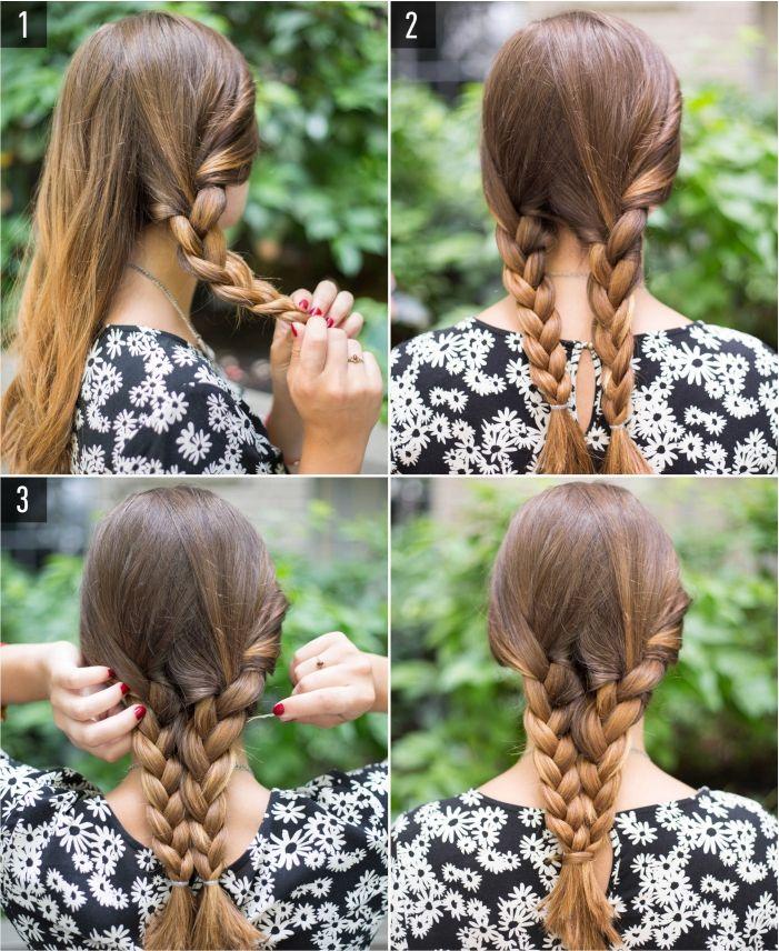 6 penteados fáceis para mulheres sem tempo. Série de penteados com visual intrincado, mas de fácil execução.