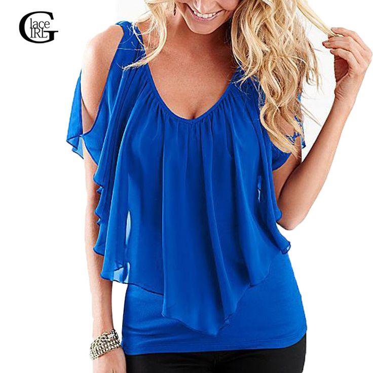 Aliexpress.com: Comprar Lace girl 2017 verano mujer casual tops sin mangas del hombro mujeres de la manera irregular gasa blusas camisas blusas femeninas de blusas femininas fiable proveedores en Lace Girl MODA Store