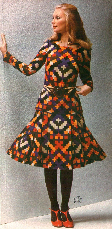 1972 vintage fashion style color photo print ad dress set suit graphic print blue purple red orange ethnic skirt shirt belt model magazine