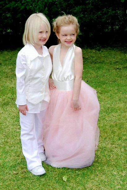 Halloween costume? Kids as Ellen and Portia on their wedding day!