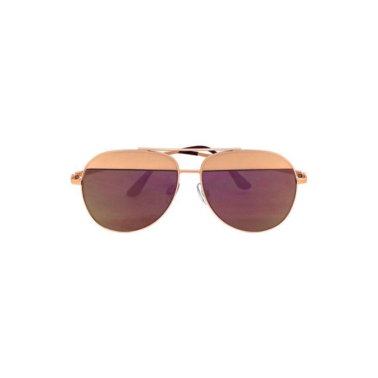 Women's Aviator Sunglasses - Rosegold/Purple, Rose Gold