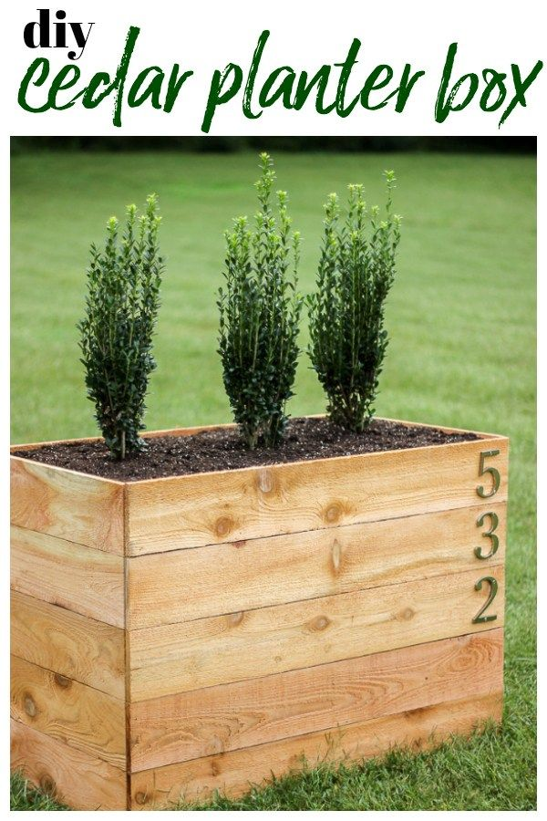 Diy Cedar Planter Box Plans Using A Snap Together Frame Large Enough To Fill With Shrubs And Display House Numbers On Diycedarplanter P