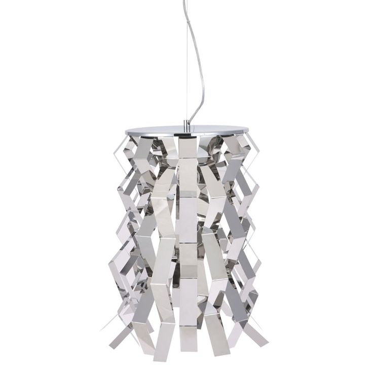 Ignite Hanging Lamp - Reflective strips of chrome are bent and arranged to form our Ignite Hanging Lamp. Assembly is not required. $339