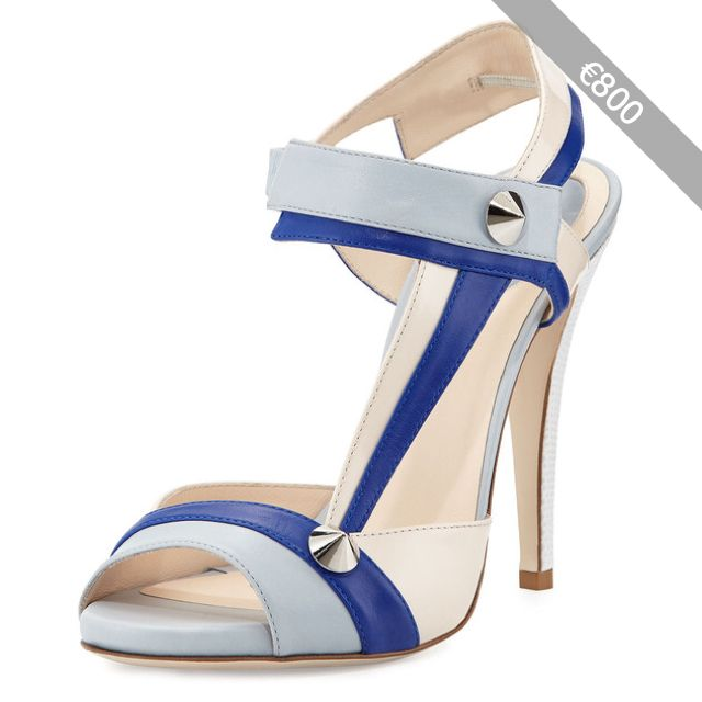 Fendi Asymmetric Leather Stud Sandal