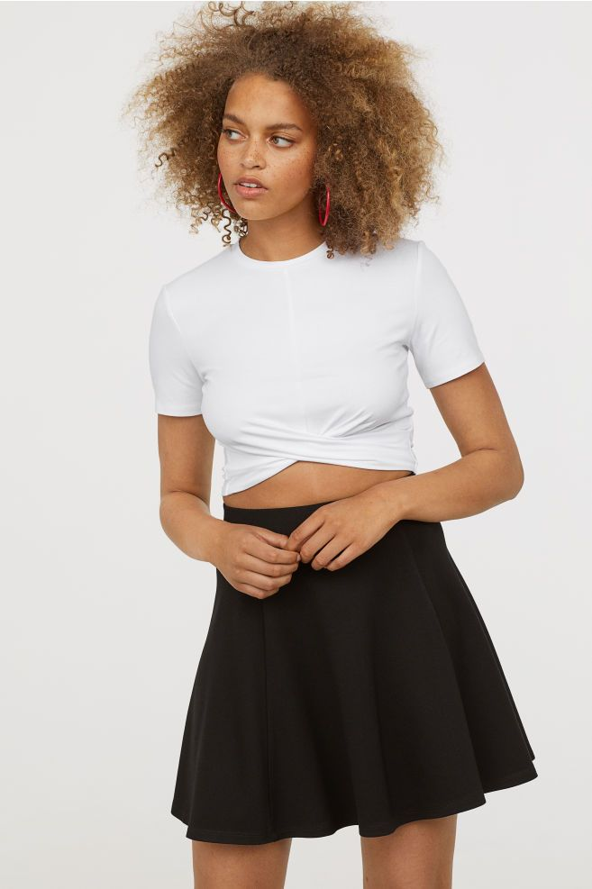 54a6aed84634 Knot-detail jersey top in 2019 | outfits to buy | Tops, High waisted ...
