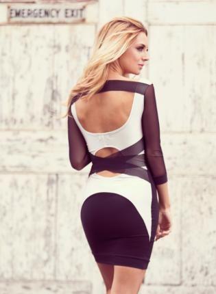 White Party Dress - Q1058 Quontum Cream/Mesh Strap Dress