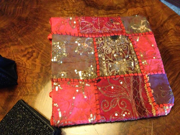 Patchwork evening bag in satin, beads and rhinestones