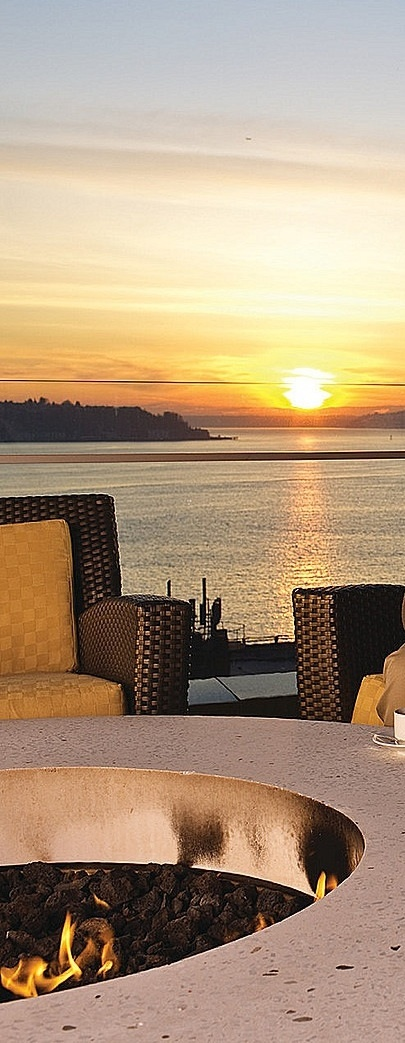 Sunset views, while enjoying a cocktail or glass of wine around the outdoor fireplace.