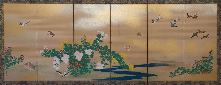 Folding screen with birds Hara Zaichu (1750-1837)   Second half of Edo Period (1615-1867) Six-fold screen: ink, pigments and gofun and gold on paper, cm 106 x 268 Signed: Hara Zaichu; artist's seals Kanagu with kiku (emperor's seal)  The fine traditional composition shows very well defined birds and chrysanthemums with other flowers on a river, while the sky is left unpainted in plain paper, sprinkled with gold and silver flakes to render the clouds.  Pupil of Maruyama Okyo (1733-95), Hara…