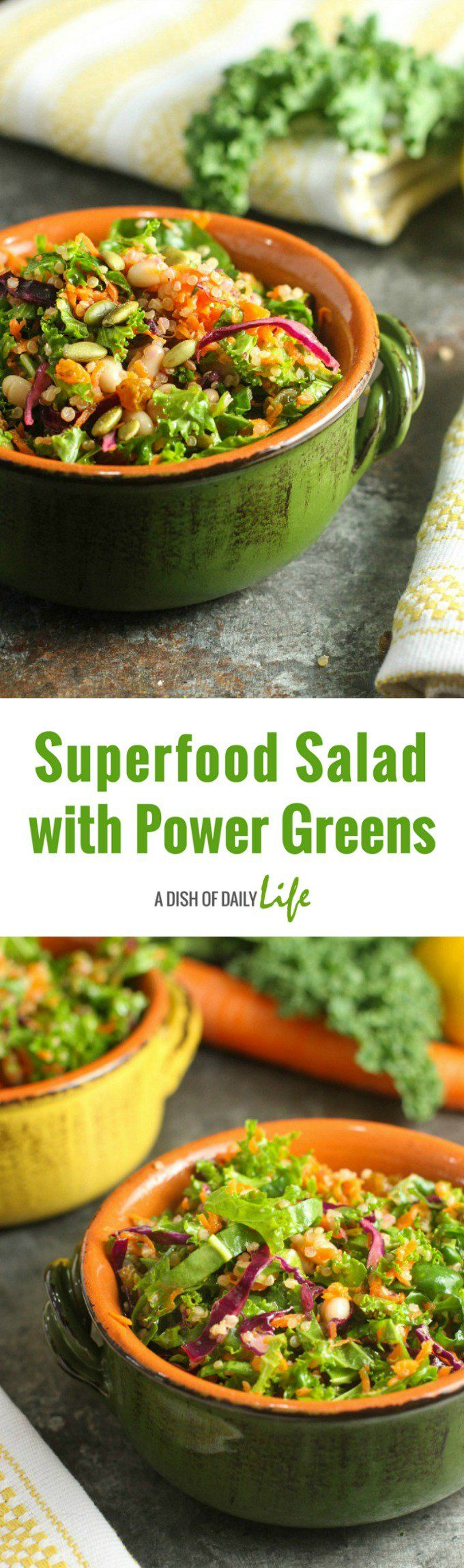 Healthy meets delicious with this Superfood Salad with Power Greens!Perfect for lunch or as a side for dinner...this salad gets rave reviews! #ad @vigofoods