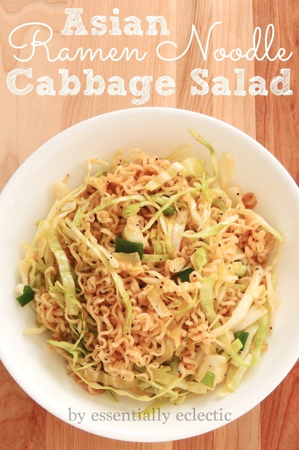Asian Ramen Noodle Cabbage Salad I think I will choose a different noodle since commercial ramen is not that good for you.