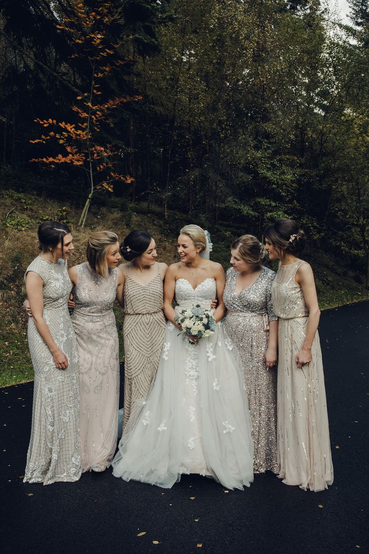 Bridesmaids in Embellished Gowns - Emma Lawson Photography | Bespoke Ian Stuart Fishtail Gown with Detachable Tulle Skirt | Traditional Fairytale Wedding at Drumtochty Castle in the Scottish Glen | Mis-Match Sequin Bridesmaid Dresses | Tartan