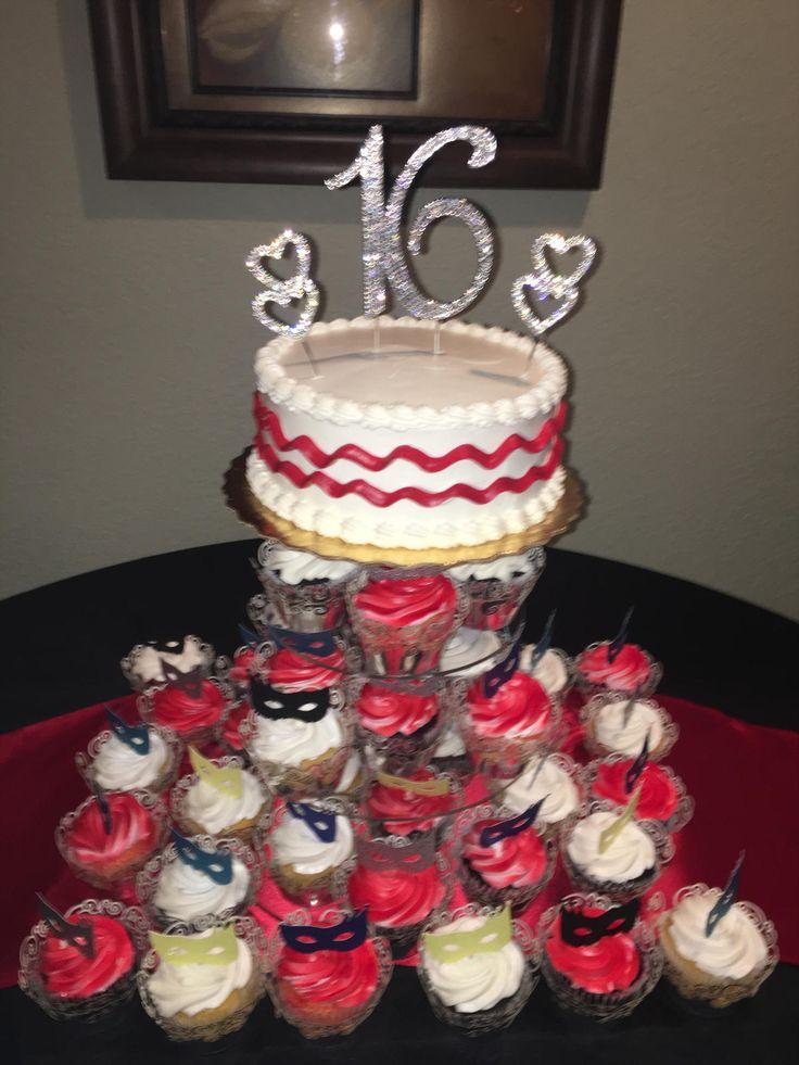 Sweet 16 Masquerade cupcake tower