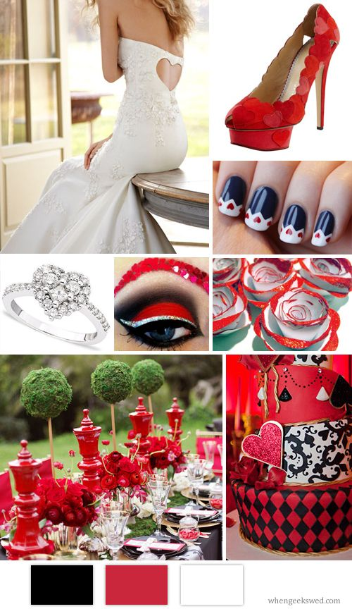 Queen Of Hearts Wedding Inspiration Board.    Makeup: GlitterGirlC/Dress: JLM Couture/Heels: Bergdorf Goodman/Ring: Macy's/Reception Table: Grey Likes Weddings ( Adrienne Gunde Photographer)/Cake: Pink Cake Box/Roses: Etsy/Nails: The Funky Fashionista