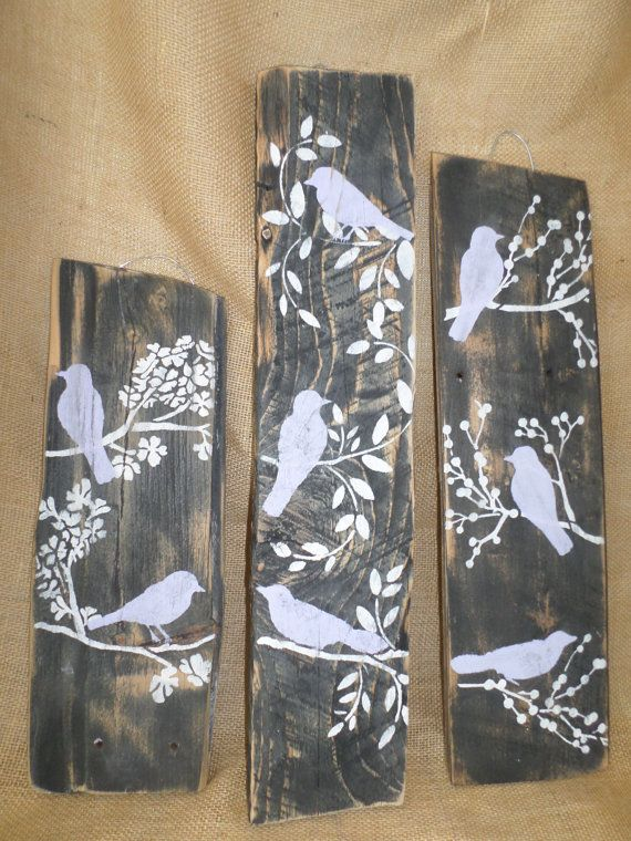 4 Bird Wall Decor Country Custom Order Rustic by ThreeTwigsDesigns