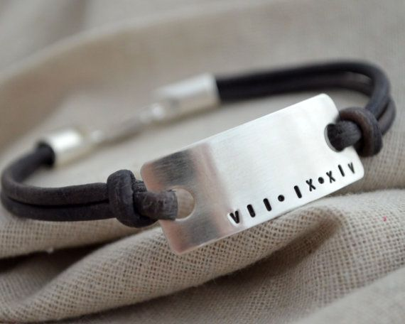 Roman Numeral XL Men's Bracelet  Customize  by ThoughtBlossoms