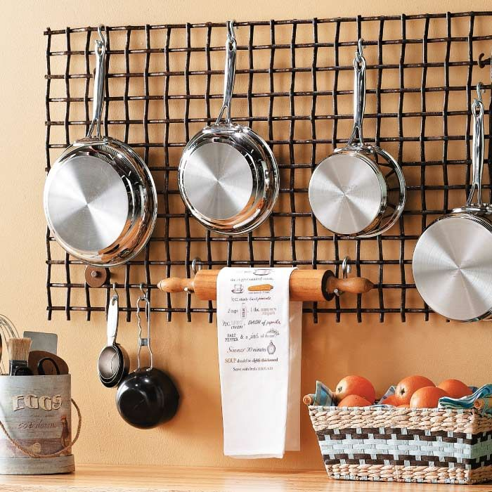 Turn a Metal Grate into a Pot Rack  This antique metal-rod grate had an interesting patina that made it stand out at the local salvage store. Thanks to its grid form, we knew it'd be perfect for use as a pot rack.  Practical Project. A pot rack is a good project to create out of a salvaged piece, because it doesn't have to be a specific size, style, or material.