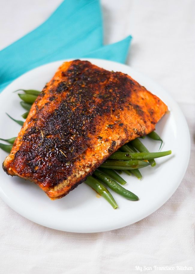 This is dinner tonight! :) A recipe for spicy blackened cajun salmon using wild caught salmon.